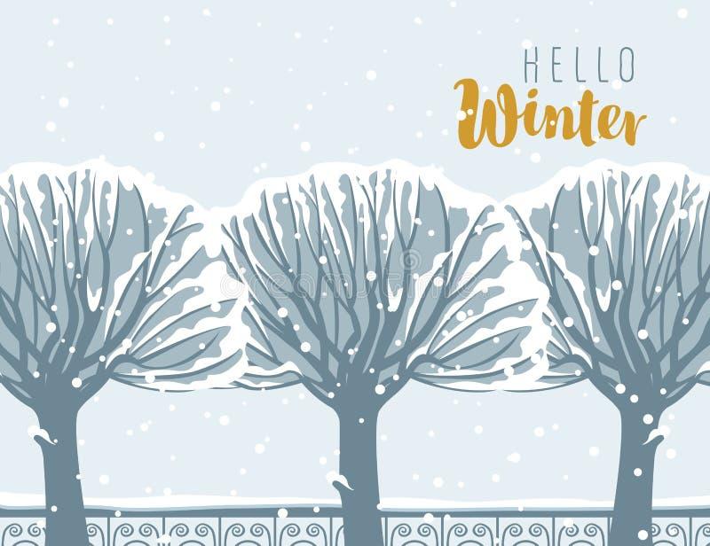 Ландшафт зимы с покрытыми снег деревьями в парке иллюстрация вектора