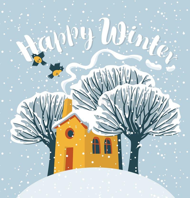 Ландшафт зимы с покрытыми снег домом и деревом иллюстрация штока
