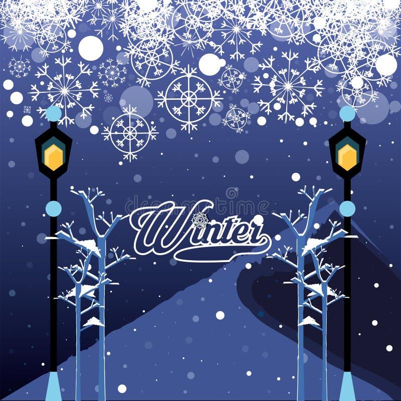 Ландшафт зимы с рождеством сцены ламп иллюстрация вектора