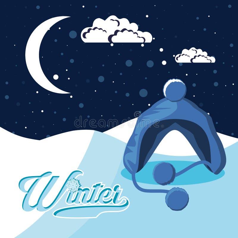 Ландшафт зимы с рождеством сцены шляпы бесплатная иллюстрация