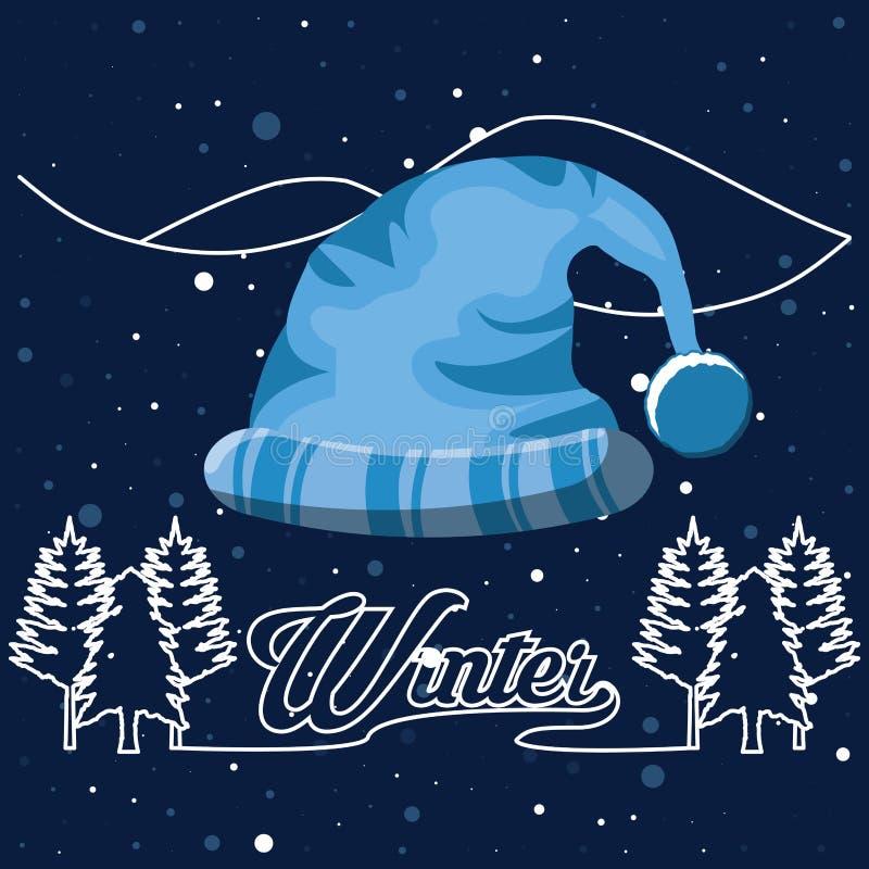 Ландшафт зимы с рождеством сцены шляпы иллюстрация вектора