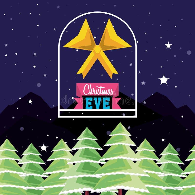 Ландшафт зимы с сосной и смычком рождества бесплатная иллюстрация