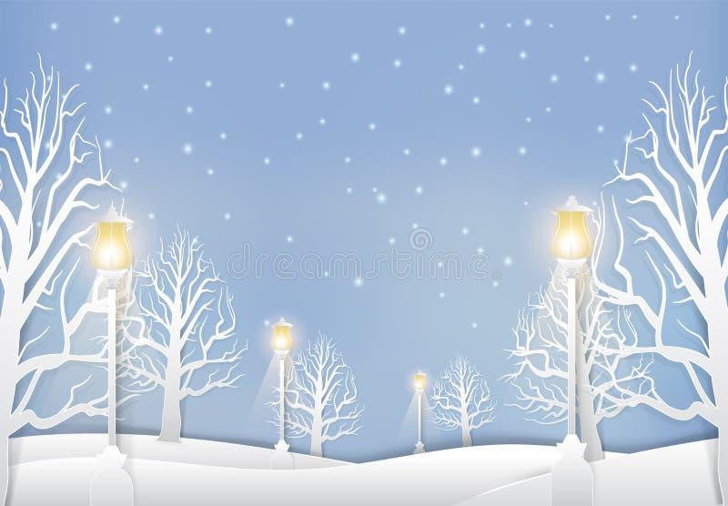 Ландшафт зимы с столбом лампы и стилем искусства снега бумажным иллюстрация штока