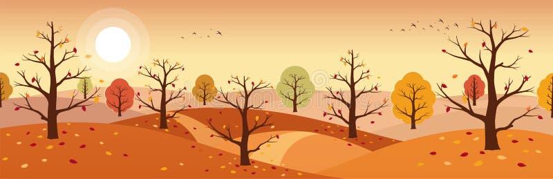 ландшафт изображения hdr сельской местности осени Ландшафты гор с деревьями и падать желтая, красная листва иллюстрация штока