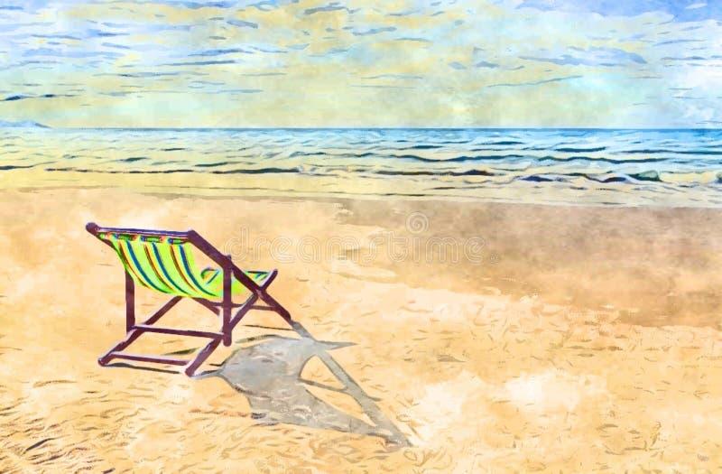 Ландшафт картины, красивый пляж Стулья на песчаном пляже около моря Концепция летнего отпуска и каникул иллюстрация вектора