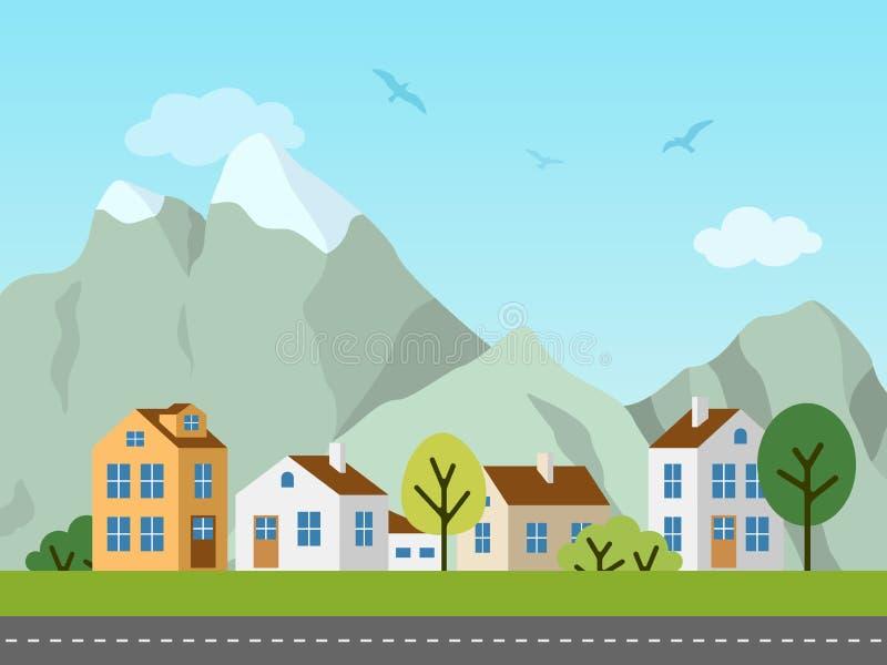 Ландшафт, коттеджи и горы вектора города городской иллюстрация вектора