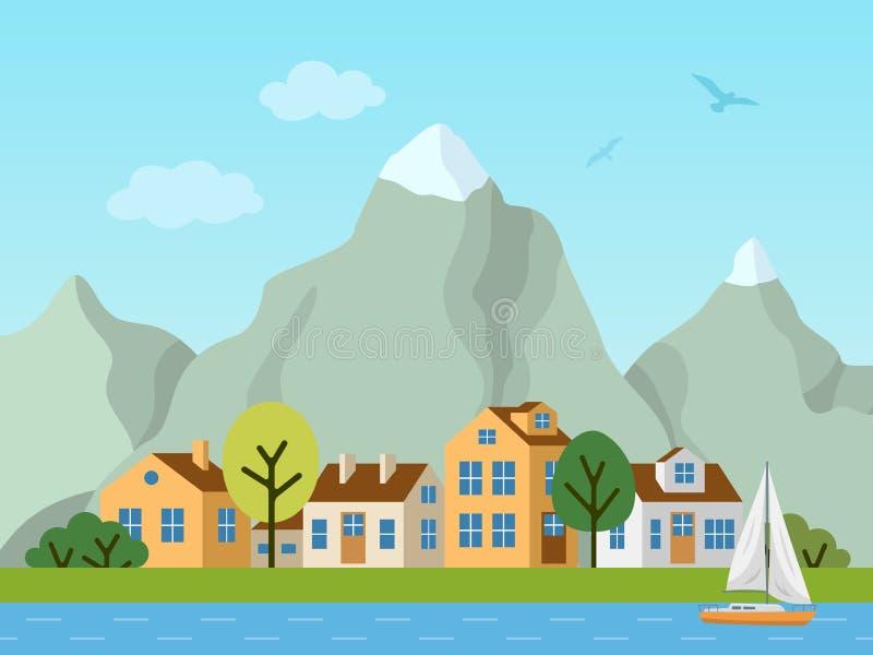 Ландшафт, коттеджи и горы вектора города городской иллюстрация штока