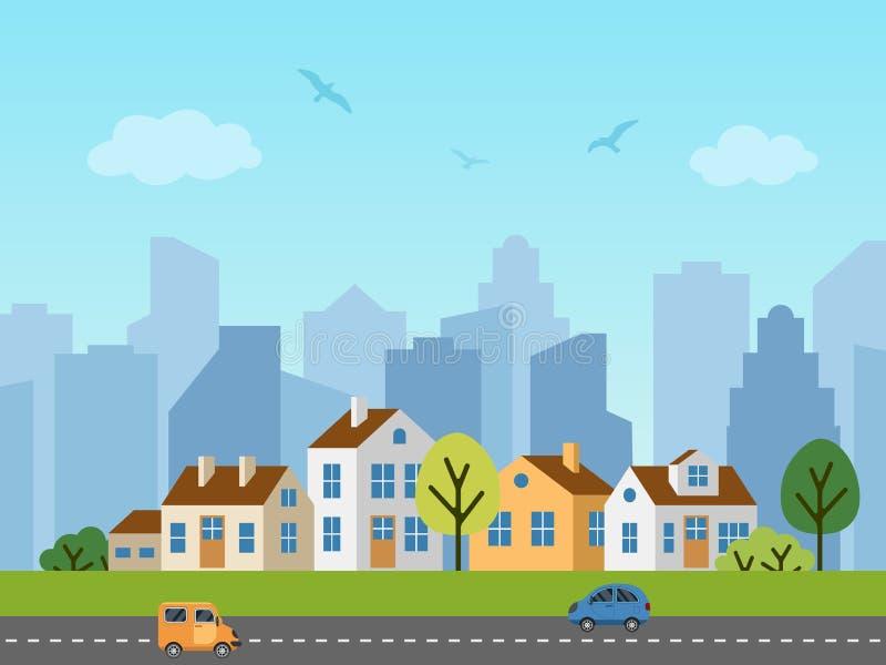 Ландшафт, коттеджи и небоскребы вектора города городской бесплатная иллюстрация