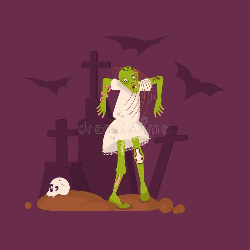 Ландшафт кошмара хеллоуина с мертвой девушкой иллюстрация штока