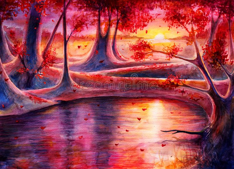 Ландшафт леса осени акварели с заходом солнца, картиной руки вычерченной, искусством фантазии с природой, красивой предпосылкой а стоковые изображения