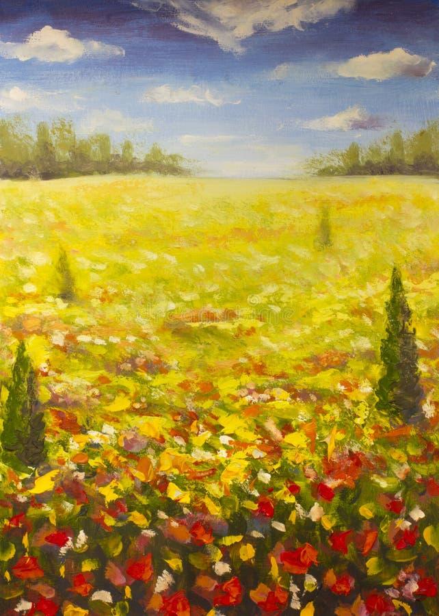 Ландшафт лета картины маслом красного поля мака цветка ogange, голубое небо заволакивает иллюстрация вектора