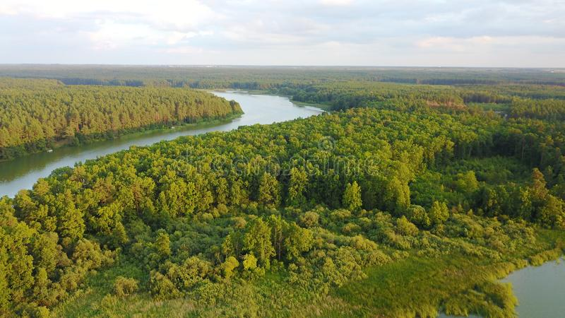 Ландшафт лета на реке Teteriv, Zhitomir, Украине стоковые изображения rf