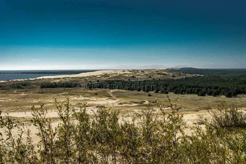 Ландшафт лета с белыми песчанными дюнами, кустами и небом Вертел Curonian, Балтийское море Место всемирного наследия Unesco стоковое изображение