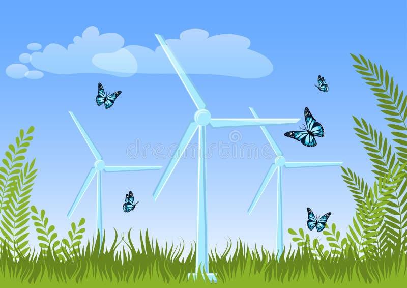 Ландшафт лета с турбинами мельницы ветра, зелеными растениями, травой, бабочками летая, небом и облаками иллюстрация штока
