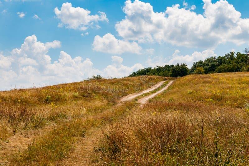 Ландшафт лета с холмом, грязной улицей, лугом и голубым небом с белыми облаками стоковое изображение