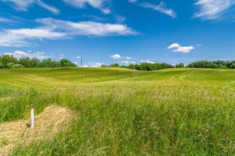 Ландшафт ЛЕТА холмистое аграрное поле под красивым облачным небом стоковая фотография