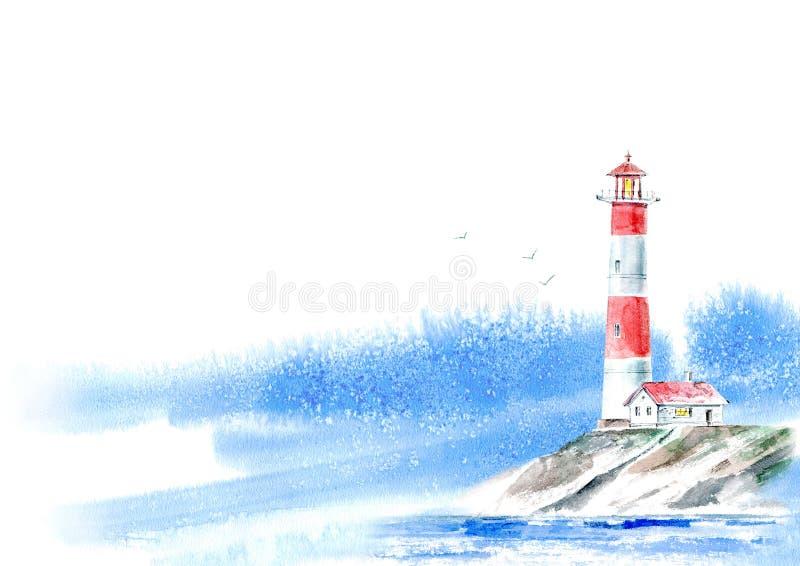 Ландшафт маяка и океана и неба Изображение моря иллюстрация штока
