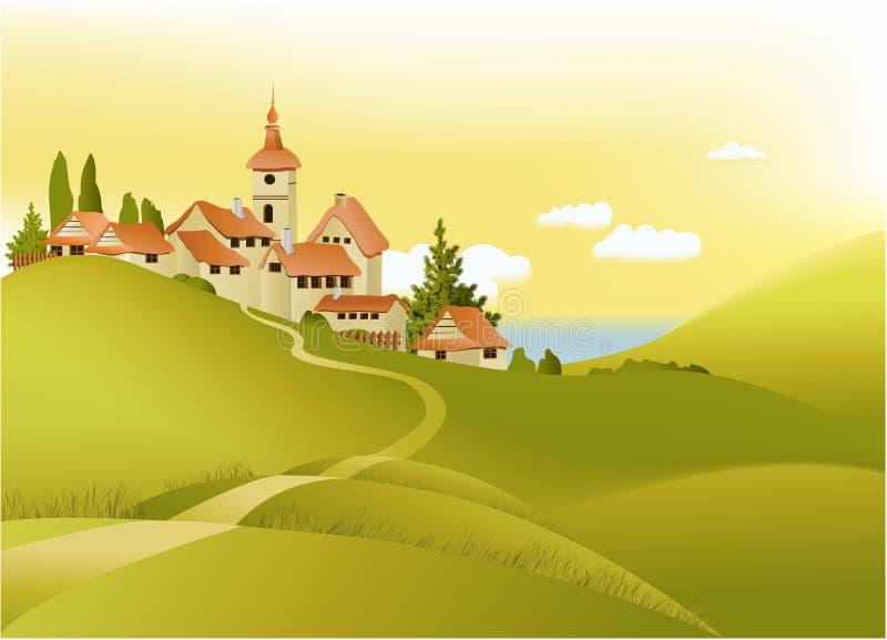 ландшафт меньшее сельское wiyh городка иллюстрация штока