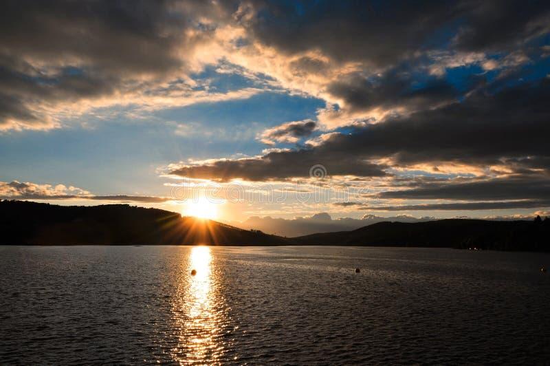 Ландшафт неба захода солнца стоковые изображения rf