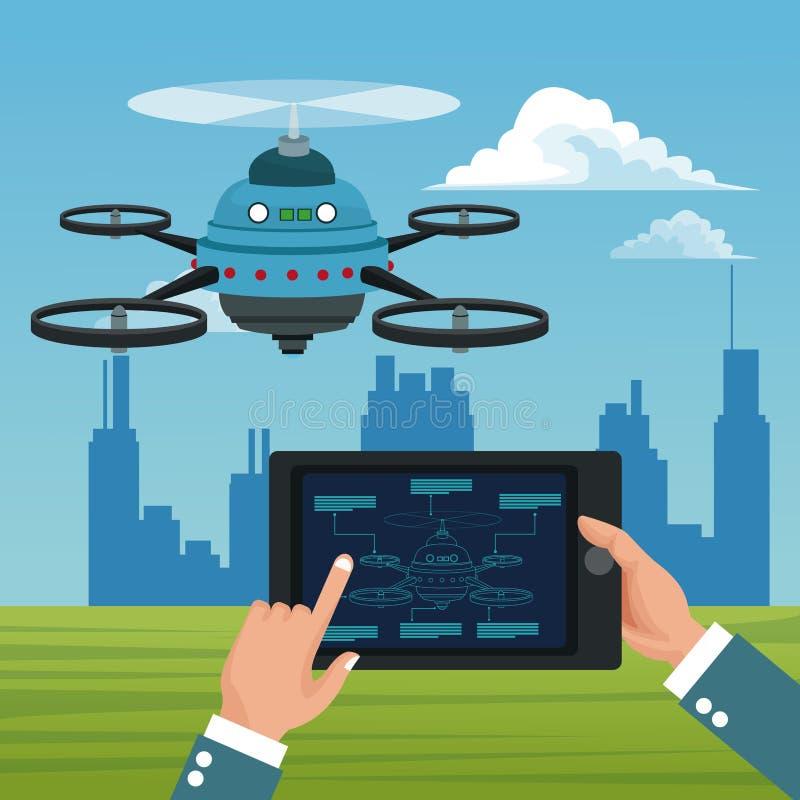 Ландшафт неба с зданиями сценой и людьми регулирует дистанционное управление в таблетке с голубым трутнем робота с airscrew 5 иллюстрация штока