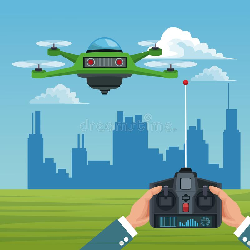 Ландшафт неба с зданиями сценой и людьми регулирует дистанционное управление с зеленым трутнем робота с airscrew 4 иллюстрация вектора