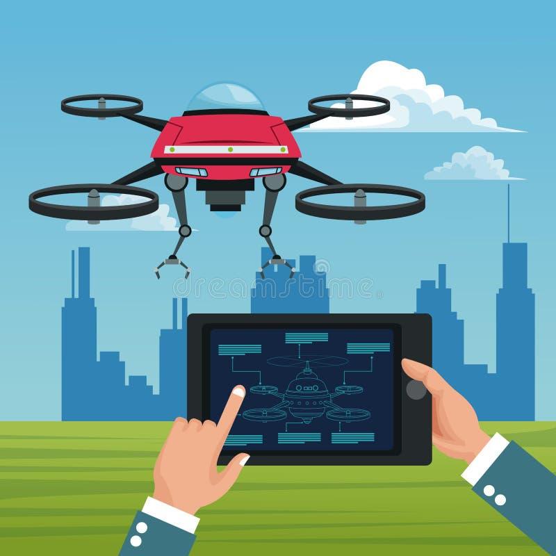 Ландшафт неба с зданиями сценой и людьми регулирует дистанционное управление в таблетке с красным трутнем робота с оружием металл иллюстрация штока