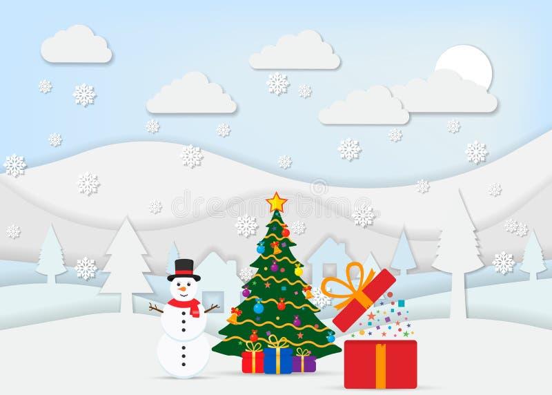 Ландшафт Нового Года и рождества для бумажного стиля искусства также вектор иллюстрации притяжки corel бесплатная иллюстрация