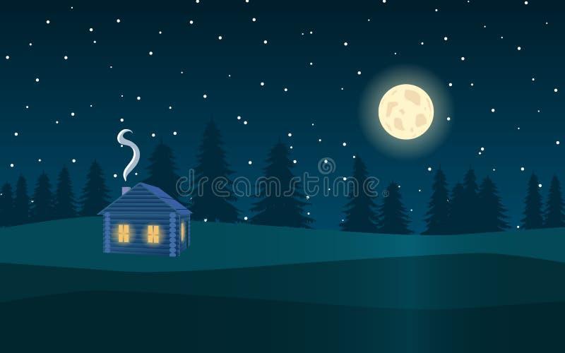 Ландшафт ночи Лес, луна, звезды и деревянный дом иллюстрация штока