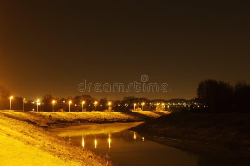 Ландшафт ночи страны Водяной канал стоковое фото