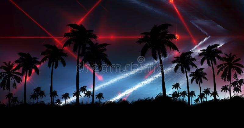 Ландшафт ночи с пальмами, против фона неонового захода солнца, звезды Пальмы кокоса силуэта на пляже на заходе солнца иллюстрация штока