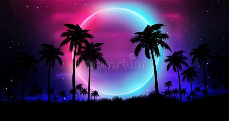 Ландшафт ночи с пальмами, против фона неонового захода солнца, звезды Пальмы кокоса силуэта на пляже на заходе солнца бесплатная иллюстрация