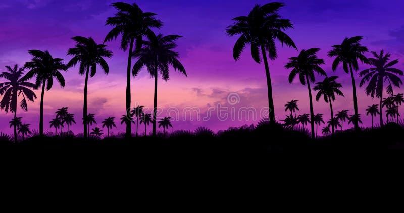 Ландшафт ночи с пальмами, против фона неонового захода солнца стоковая фотография