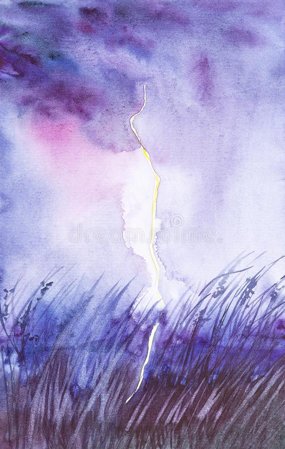 Ландшафт ночи с яркой молнией в ясном поле во время грозы E бесплатная иллюстрация