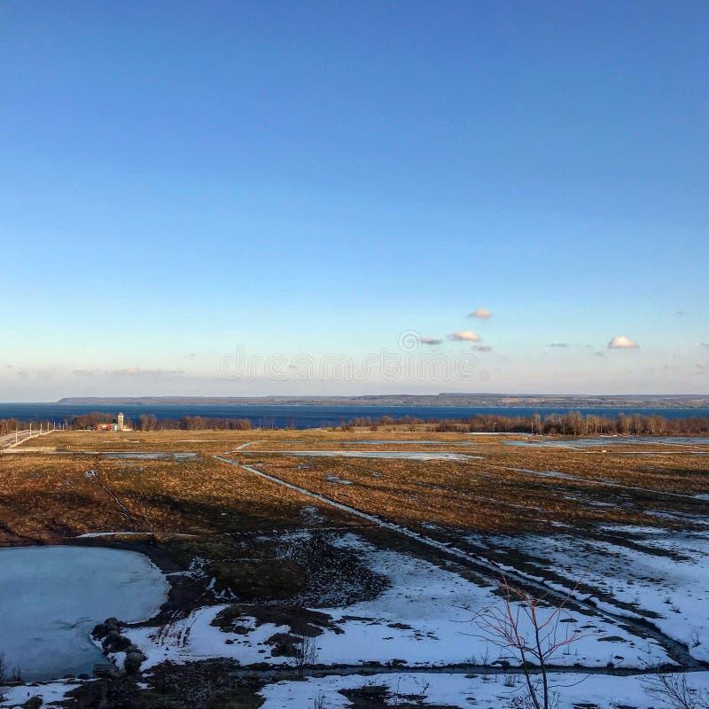 Ландшафт обрабатываемой земли Онтарио и залива грузина стоковая фотография rf