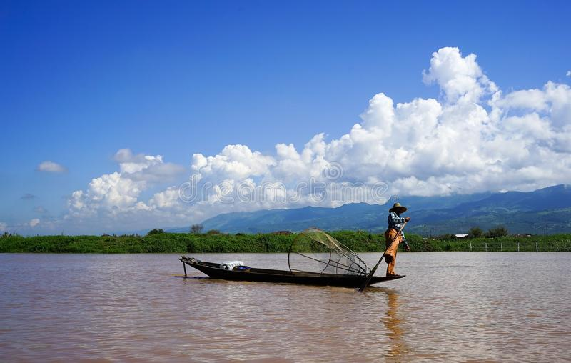 Ландшафт озера Inle, Мьянмы стоковые фото
