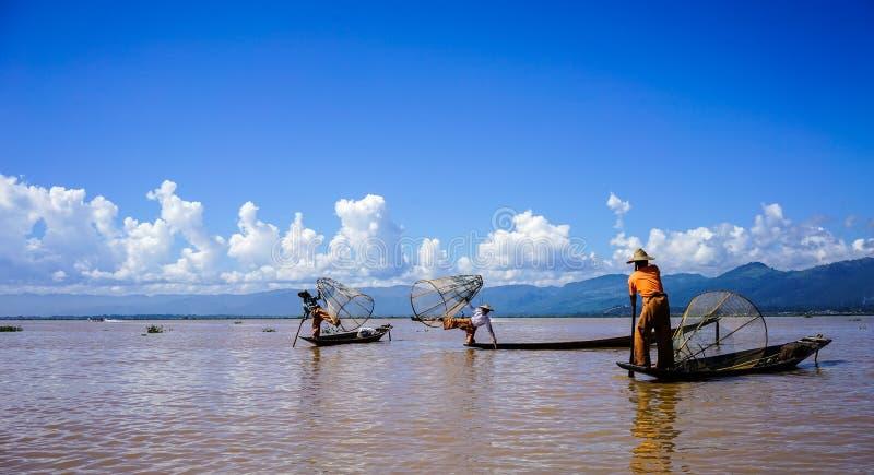 Ландшафт озера Inle, Мьянмы стоковая фотография rf