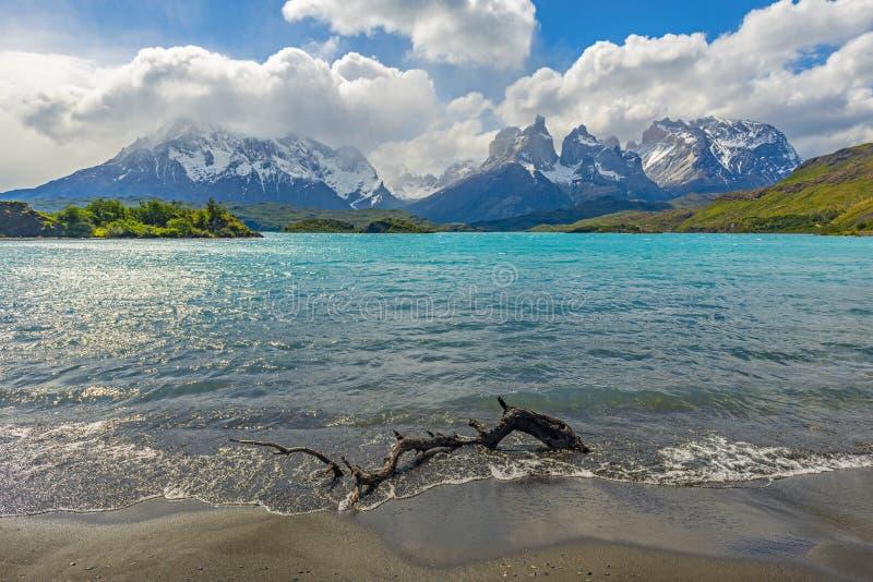 Ландшафт озера Pehoe, Патагония, Чили стоковое фото