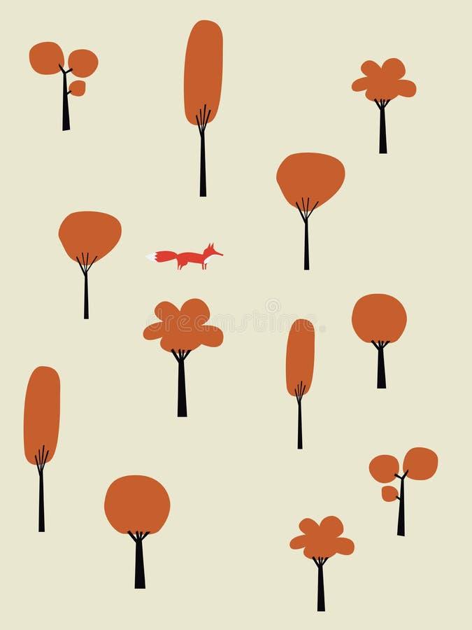 Ландшафт осени вектора оранжевых деревьев Fox идя в лес, древесины в падении Листва на деревьях бесплатная иллюстрация