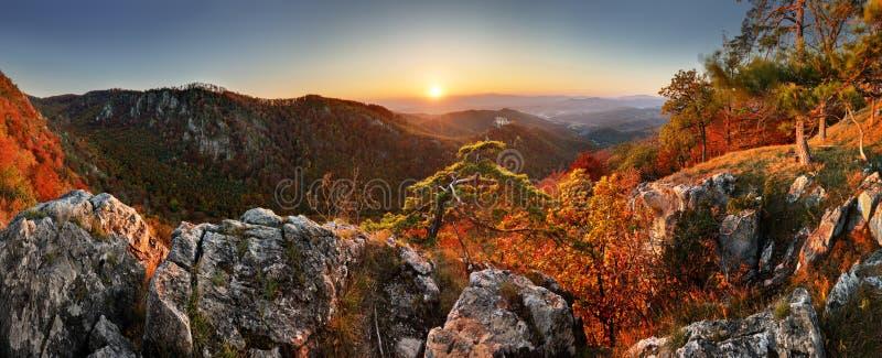 Ландшафт осени горы с красочными лесом и castl Uhrovec стоковая фотография rf