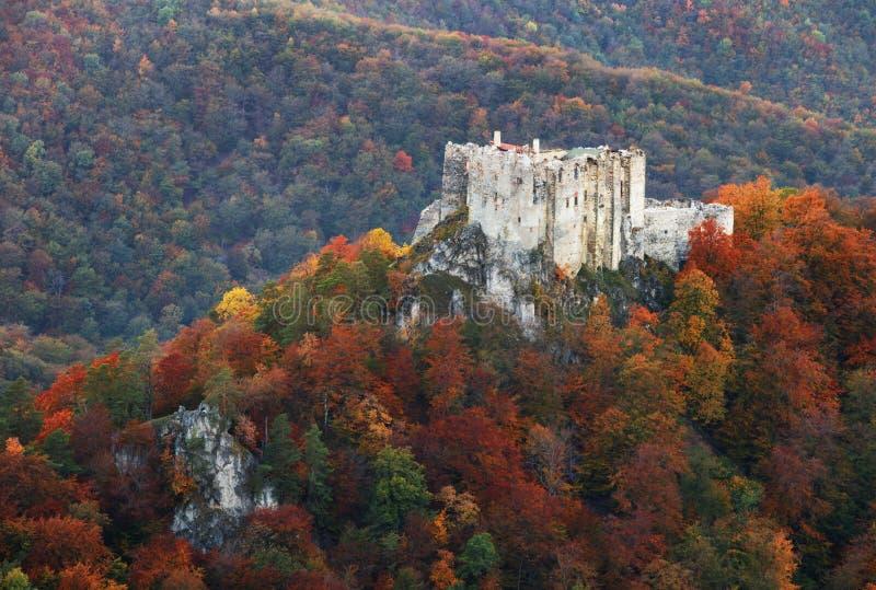 Ландшафт осени горы с красочными лесом и castl Uhrovec стоковые фото
