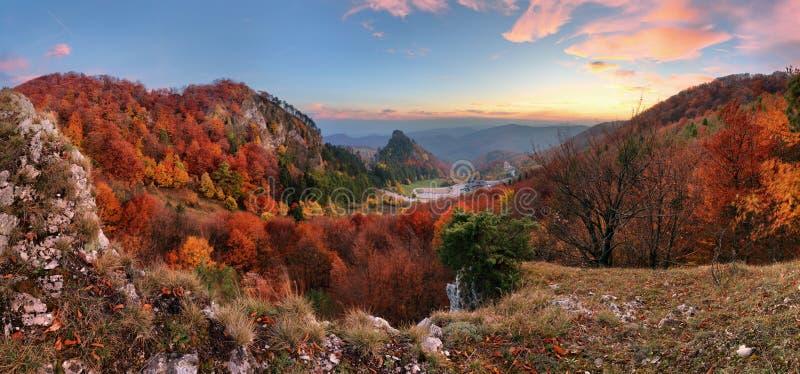 Ландшафт осени горы с красочным лесом, Vrsatec, Slovaki стоковое фото