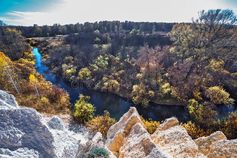 Ландшафт осени Область Новосибирска, западный Сибирь, Россия стоковые изображения rf