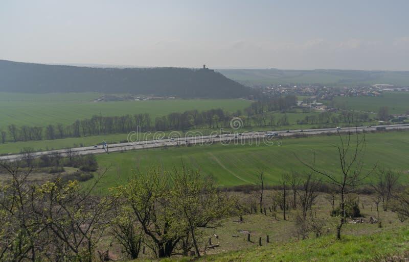 Ландшафт от замка Gleichen в Германии с голубым небом стоковые фотографии rf