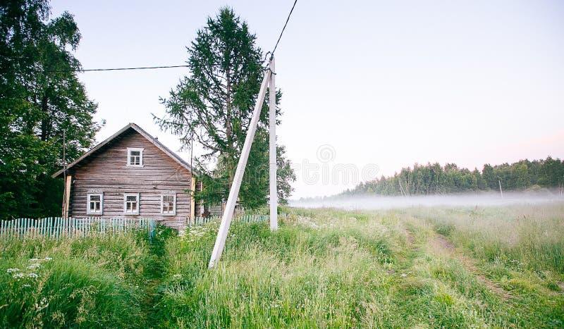 Ландшафт падения осени над полями с туманом treetops видимым сквозным стоковая фотография rf