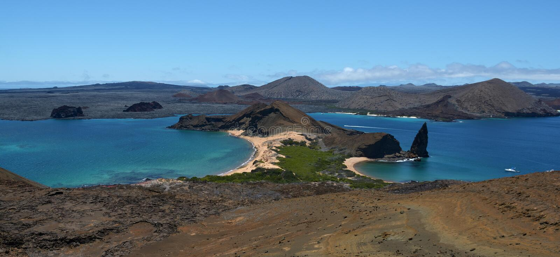 Ландшафт 7 панорамы Галапагос вулканический стоковые изображения rf