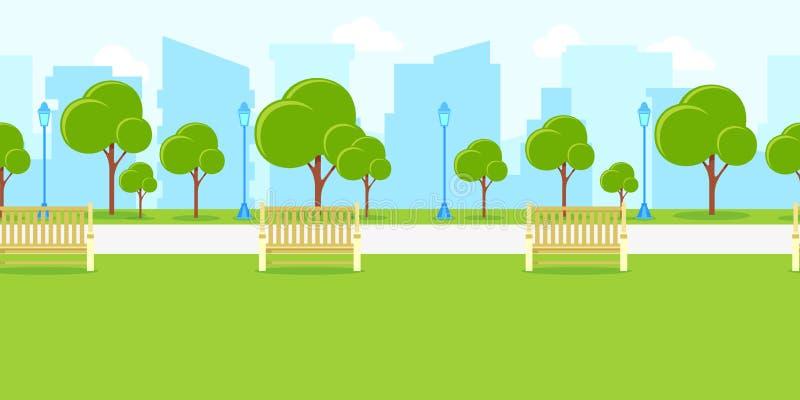 Ландшафт парка города, горизонтальная безшовная предпосылка Иллюстрация городской жизни вектора Городской пейзаж лета или весны иллюстрация вектора