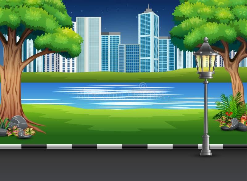 Ландшафт парка города с рекой и городской предпосылкой иллюстрация штока