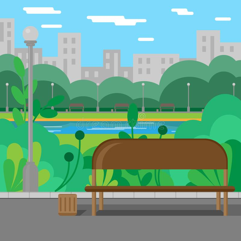 Ландшафт Парк Парк города рекой Лето иллюстрация вектора