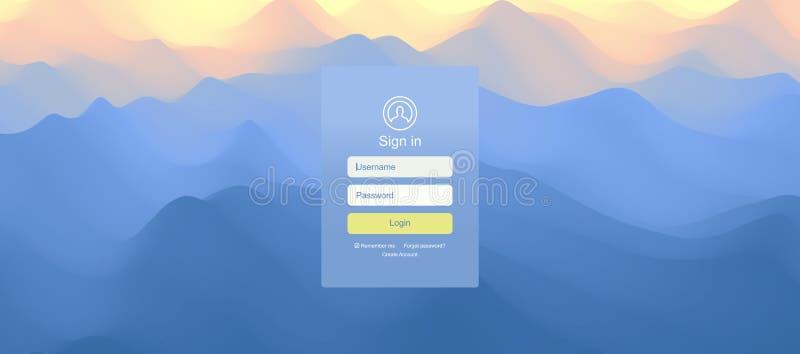 Ландшафт перед заходом солнца r Пользовательский интерфейс имени пользователя Современный дизайн экрана для мобильных приложения  иллюстрация штока
