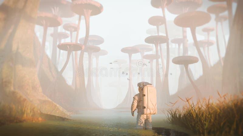 Ландшафт планеты чужеземца астронавта исследуя, миссия на туманном exoplanet бесплатная иллюстрация